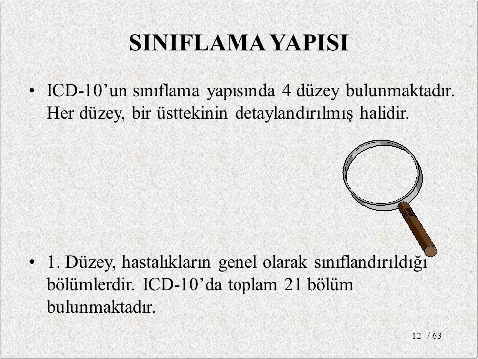 SINIFLAMA YAPISI ICD-10'un sınıflama yapısında 4 düzey bulunmaktadır. Her düzey, bir üsttekinin detaylandırılmış halidir.