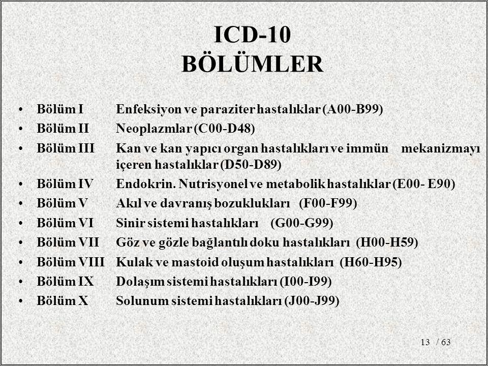 ICD-10 BÖLÜMLER Bölüm I Enfeksiyon ve paraziter hastalıklar (A00-B99)