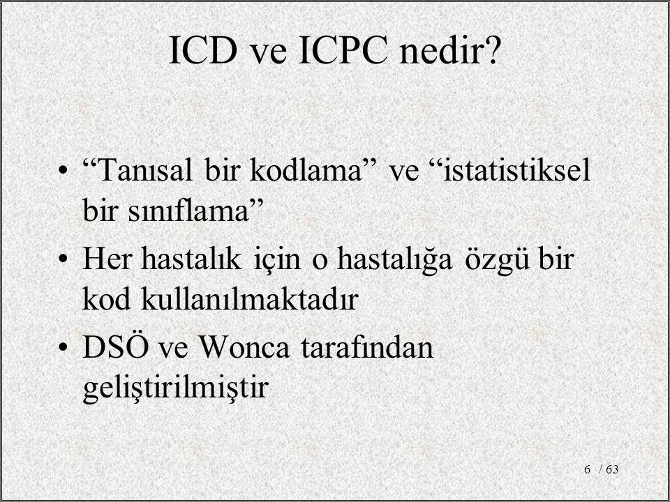 ICD ve ICPC nedir Tanısal bir kodlama ve istatistiksel bir sınıflama Her hastalık için o hastalığa özgü bir kod kullanılmaktadır.