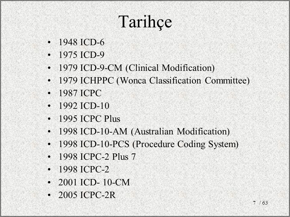 Tarihçe 1948 ICD-6 1975 ICD-9 1979 ICD-9-CM (Clinical Modification)