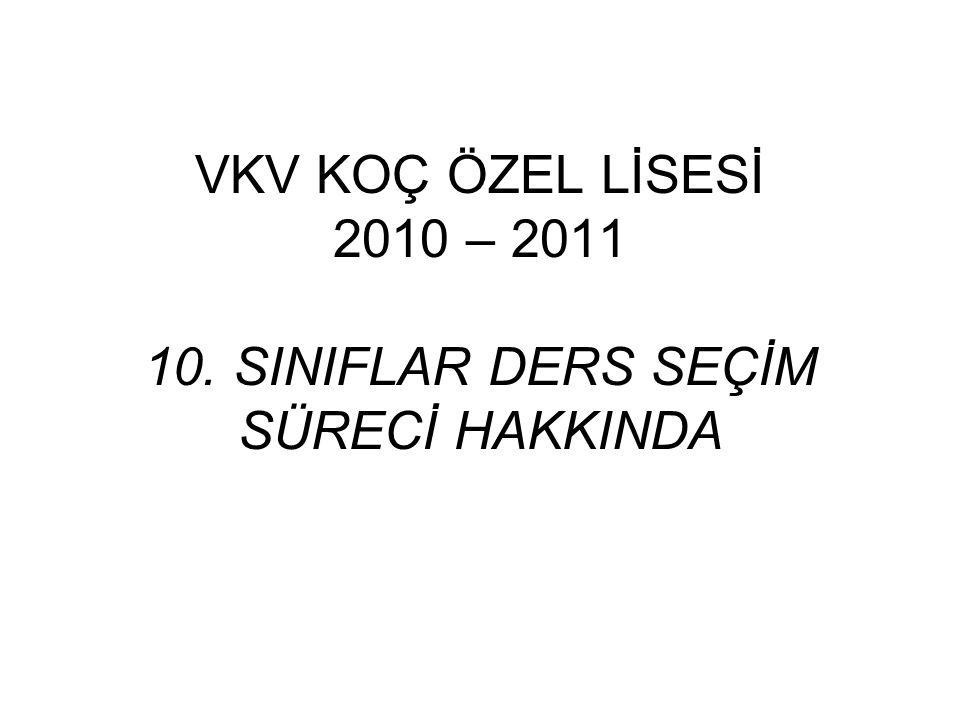 VKV KOÇ ÖZEL LİSESİ 2010 – 2011 10. SINIFLAR DERS SEÇİM SÜRECİ HAKKINDA