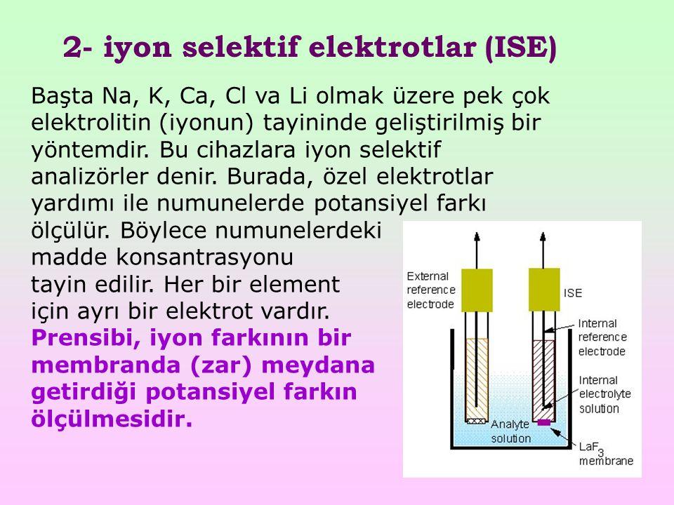 2- iyon selektif elektrotlar (ISE)