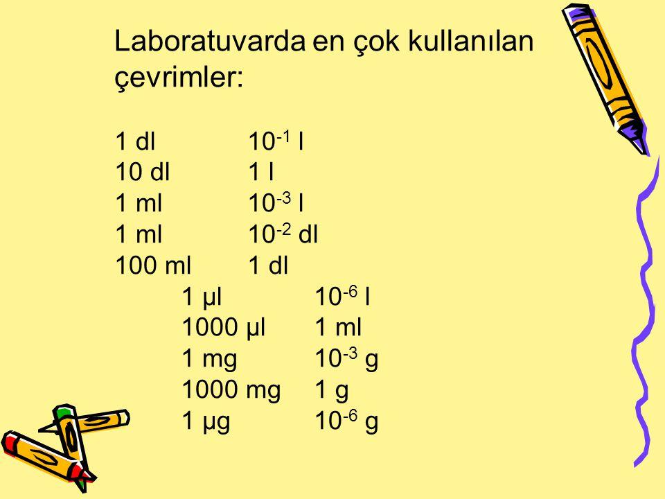 Laboratuvarda en çok kullanılan çevrimler: