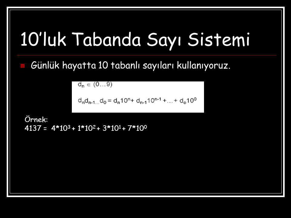 10'luk Tabanda Sayı Sistemi