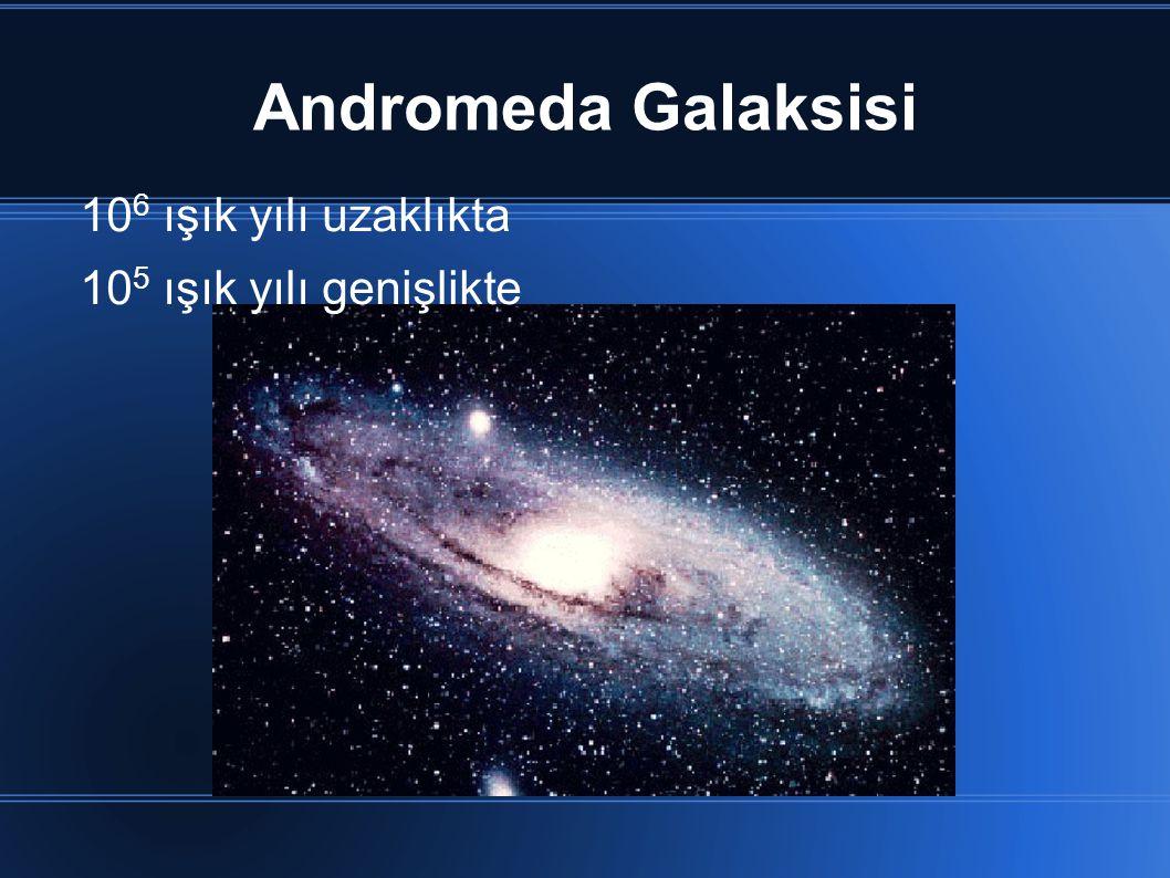 Andromeda Galaksisi 106 ışık yılı uzaklıkta 105 ışık yılı genişlikte