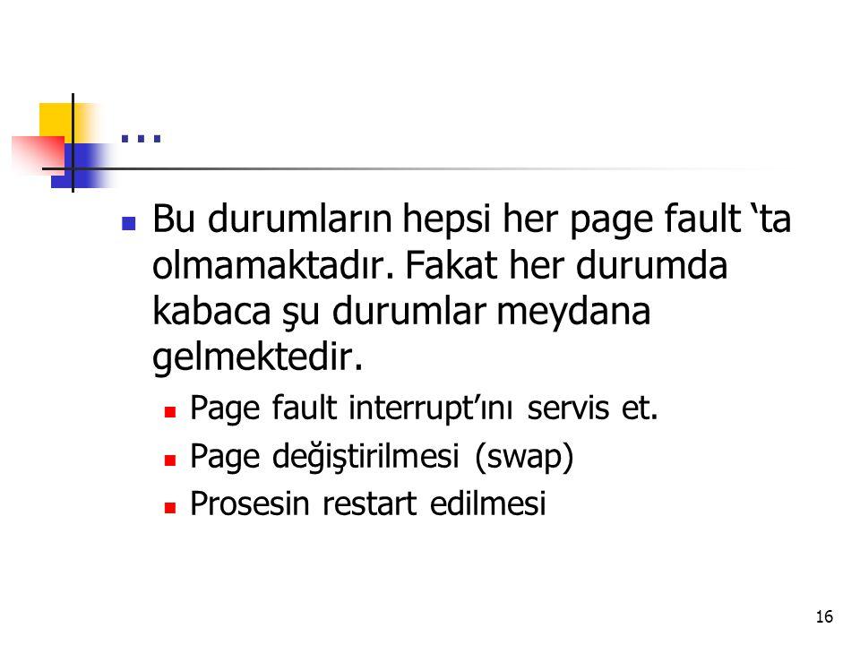 ... Bu durumların hepsi her page fault 'ta olmamaktadır. Fakat her durumda kabaca şu durumlar meydana gelmektedir.