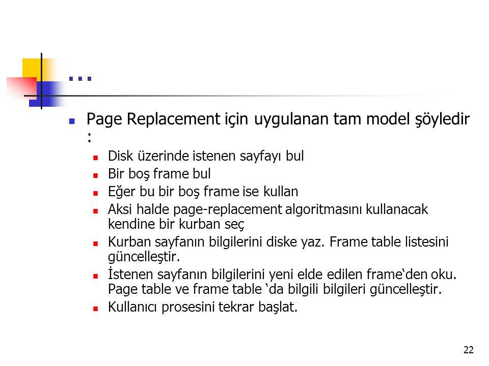 ... Page Replacement için uygulanan tam model şöyledir :