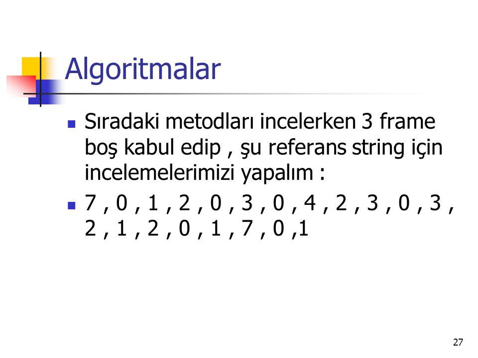 Algoritmalar Sıradaki metodları incelerken 3 frame boş kabul edip , şu referans string için incelemelerimizi yapalım :