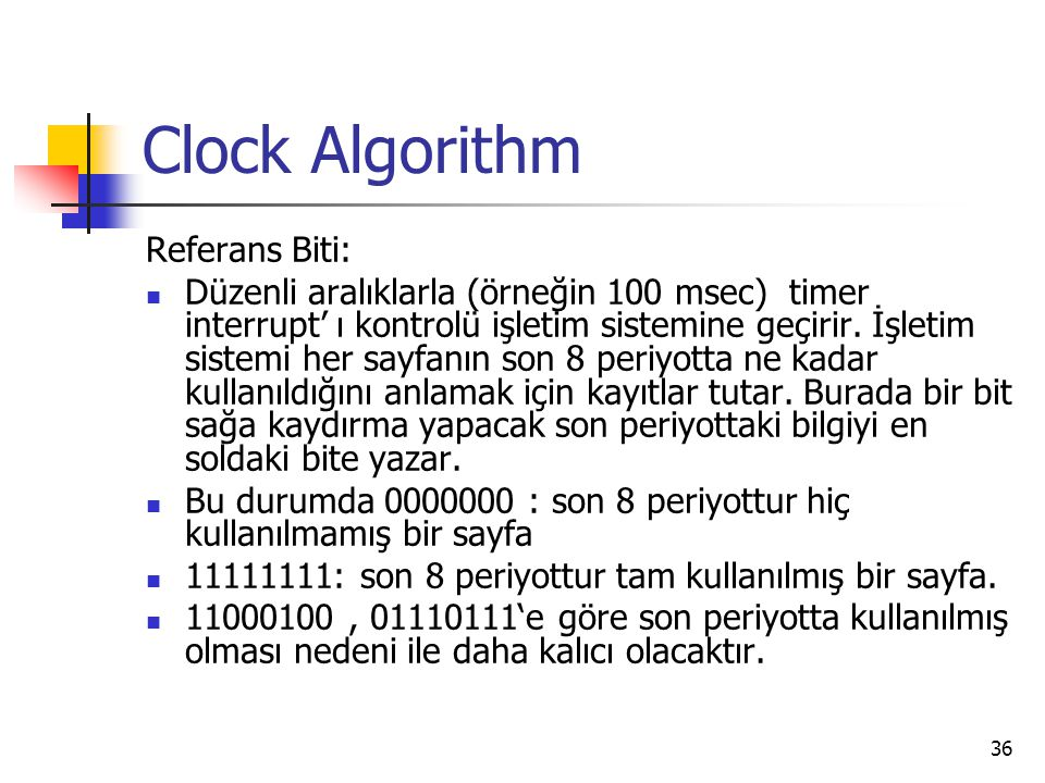 Clock Algorithm Referans Biti: