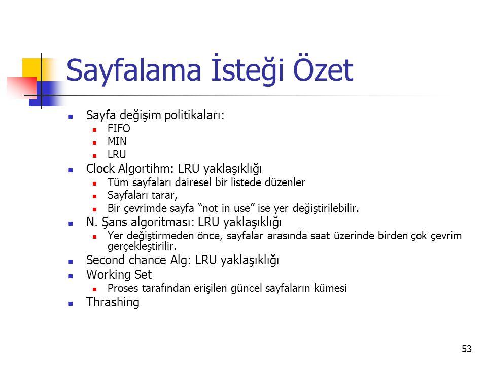 Sayfalama İsteği Özet Sayfa değişim politikaları: