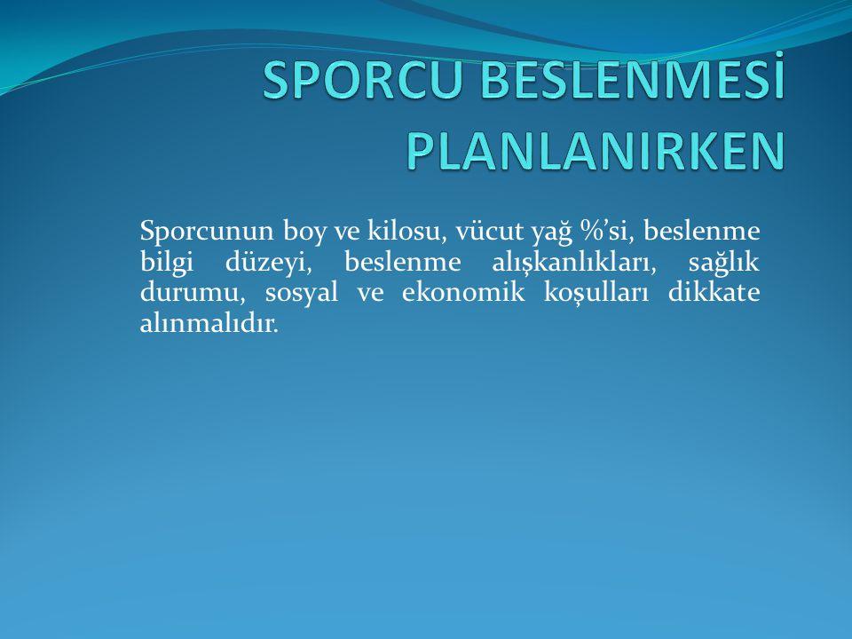 SPORCU BESLENMESİ PLANLANIRKEN