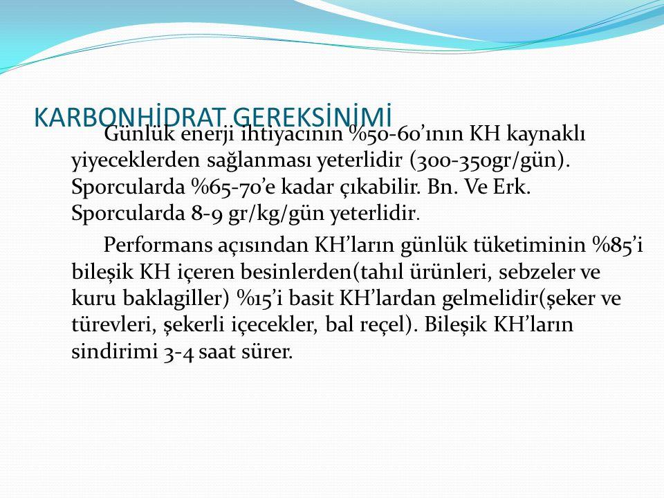 KARBONHİDRAT GEREKSİNİMİ