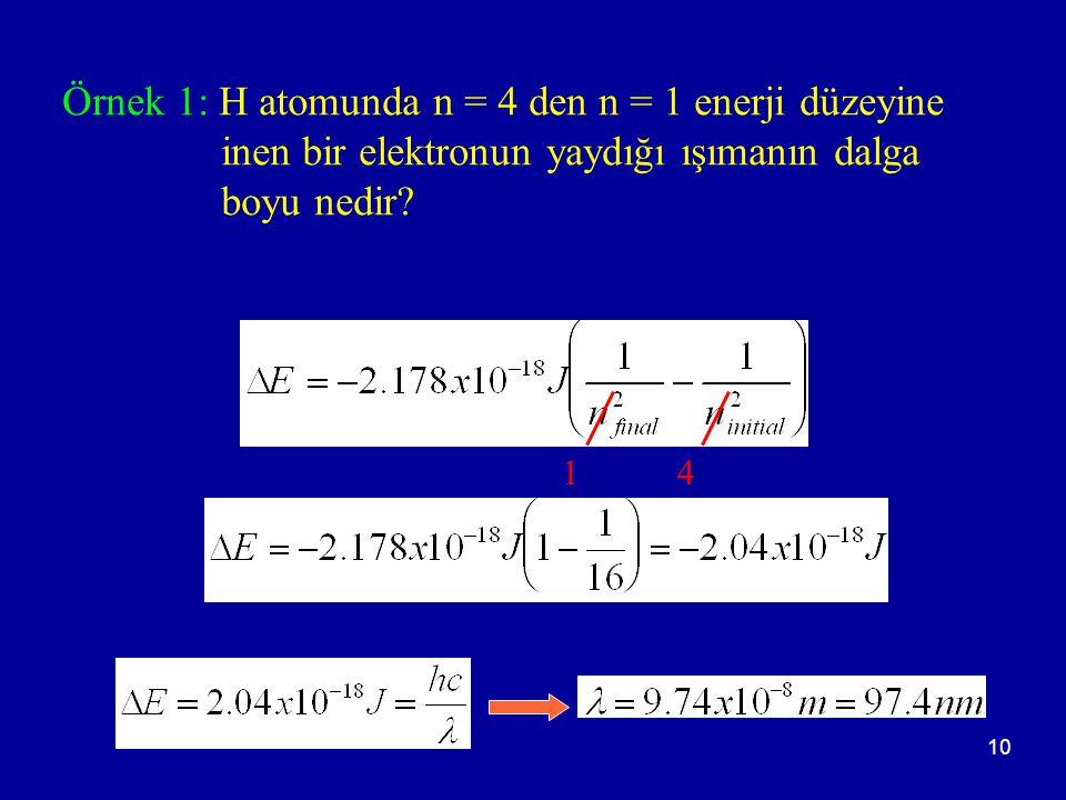 Örnek 1: H atomunda n = 4 den n = 1 enerji düzeyine