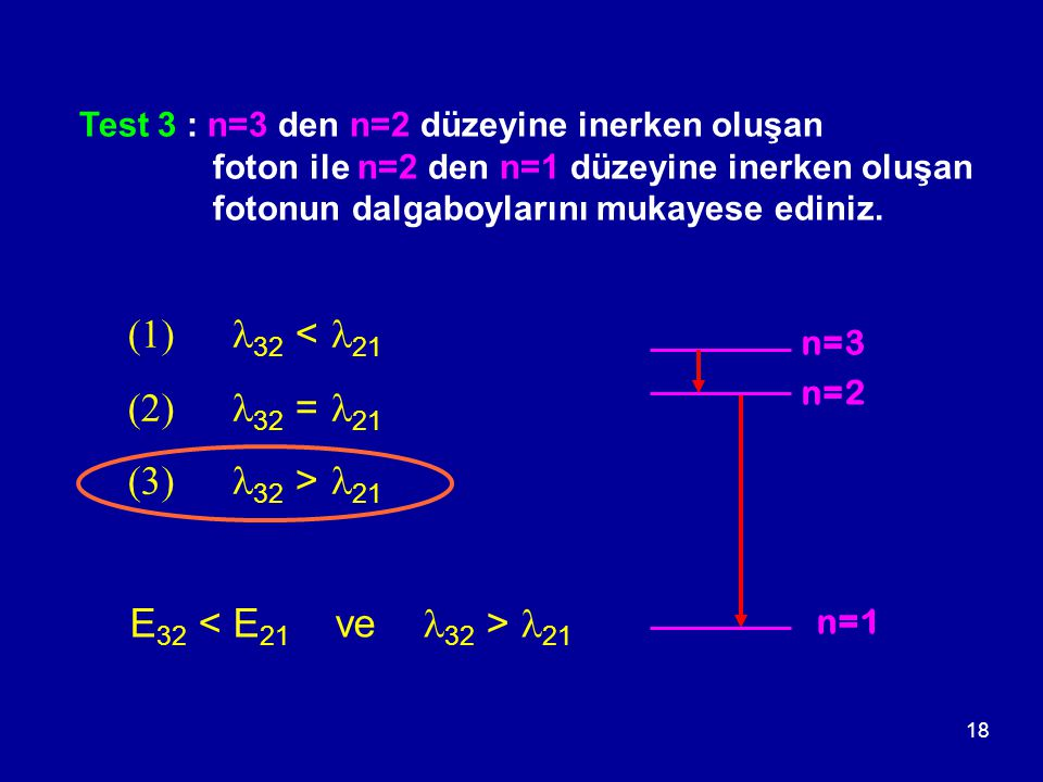 (1) l32 < l21 (2) l32 = l21 (3) l32 > l21