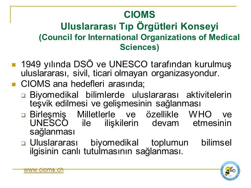 CIOMS Uluslararası Tıp Örgütleri Konseyi (Council for International Organizations of Medical Sciences)
