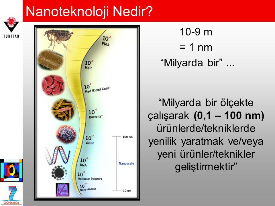 Nanoteknoloji Nedir 10-9 m = 1 nm Milyarda bir ...