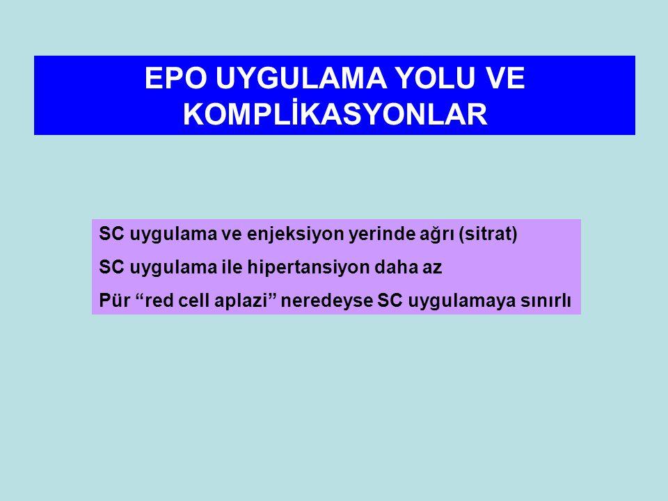 EPO UYGULAMA YOLU VE KOMPLİKASYONLAR