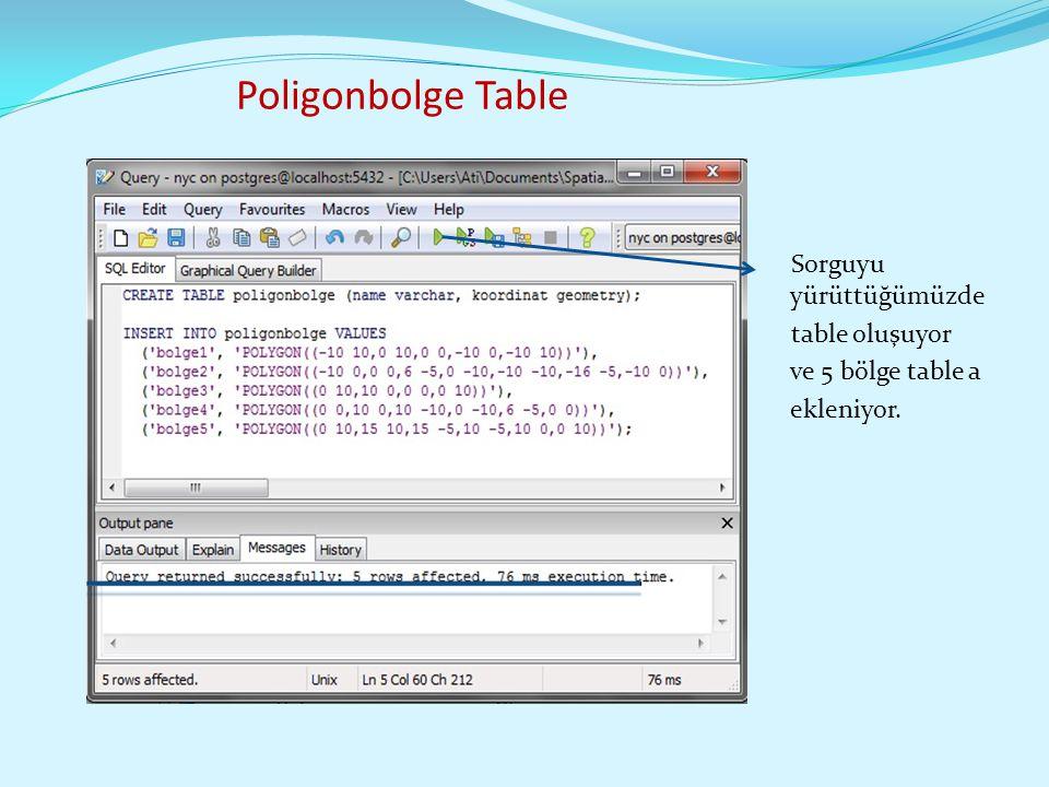 Poligonbolge Table Sorguyu yürüttüğümüzde table oluşuyor ve 5 bölge table a ekleniyor.