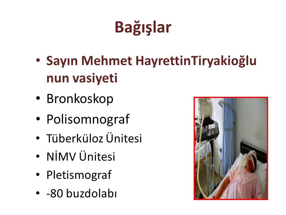 Bağışlar Sayın Mehmet HayrettinTiryakioğlu nun vasiyeti Bronkoskop