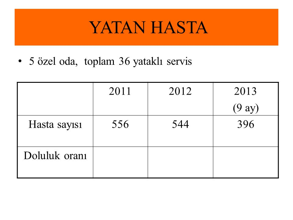 YATAN HASTA 5 özel oda, toplam 36 yataklı servis 2011 2012 2013 (9 ay)