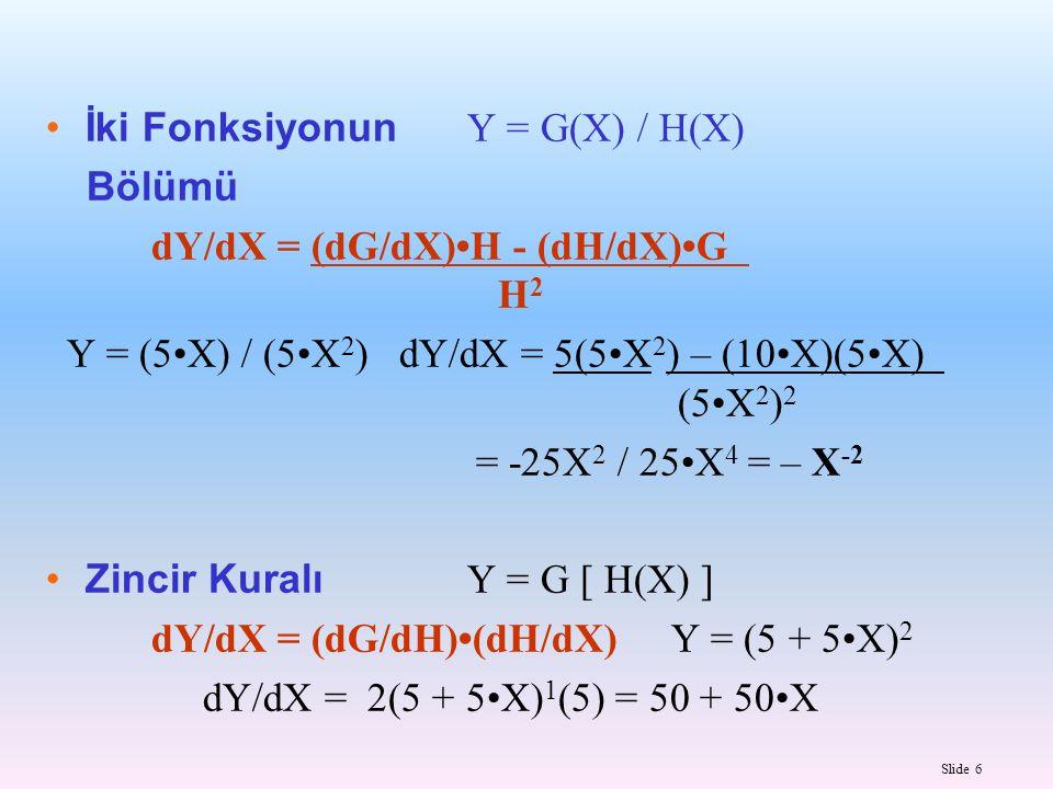 İki Fonksiyonun Y = G(X) / H(X) Bölümü