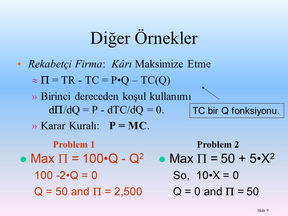 Diğer Örnekler Max = 100•Q - Q2 Max= 50 + 5•X2