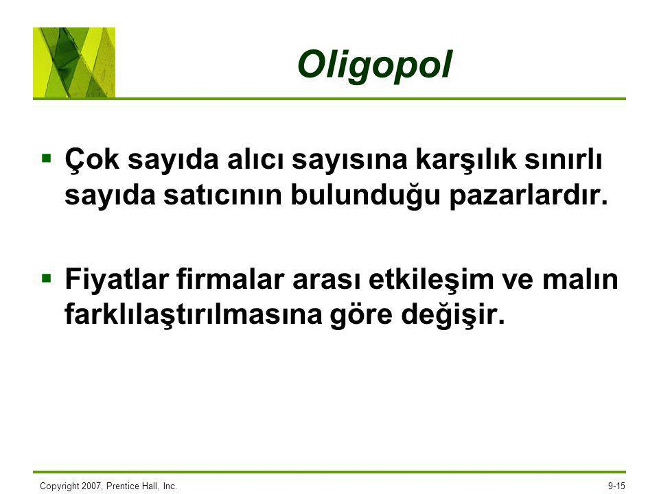 Oligopol Çok sayıda alıcı sayısına karşılık sınırlı sayıda satıcının bulunduğu pazarlardır.