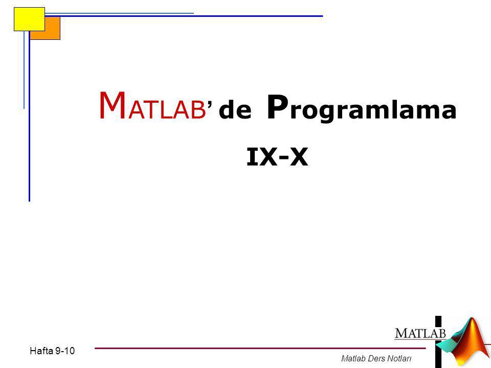 MATLAB' de Programlama