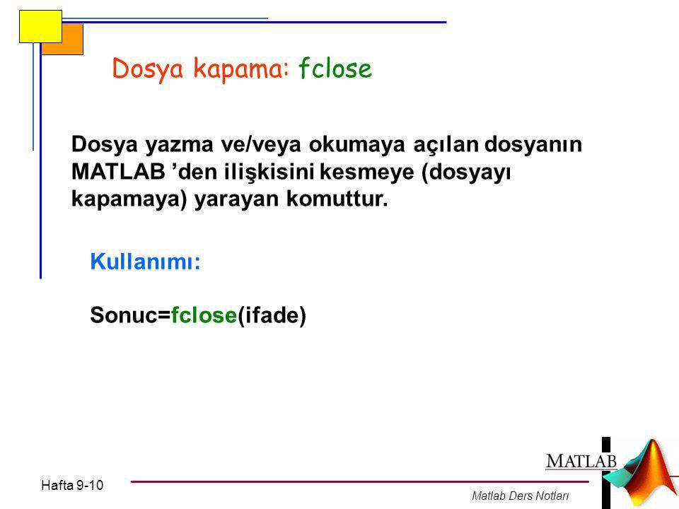 Dosya kapama: fclose Dosya yazma ve/veya okumaya açılan dosyanın MATLAB 'den ilişkisini kesmeye (dosyayı kapamaya) yarayan komuttur.