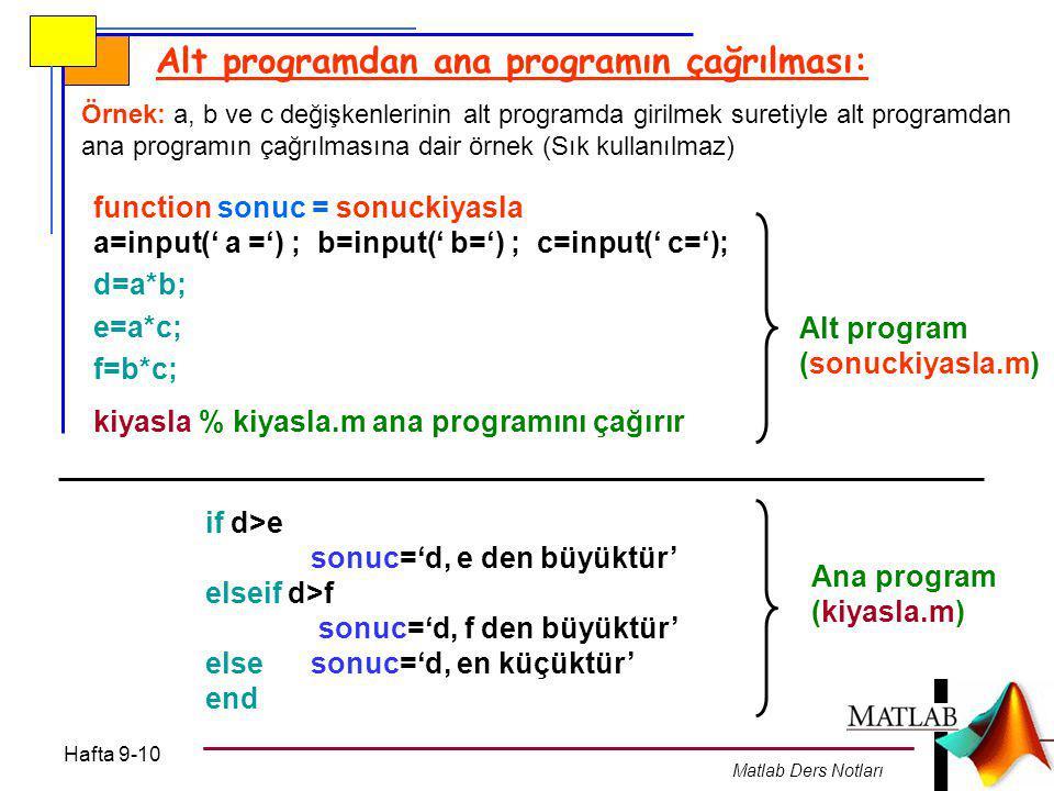 Alt programdan ana programın çağrılması: