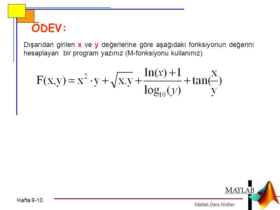 ÖDEV: Dışarıdan girilen x ve y değerlerine göre aşağıdaki fonksiyonun değerini hesaplayan bir program yazınız (M-fonksiyonu kullanınız)