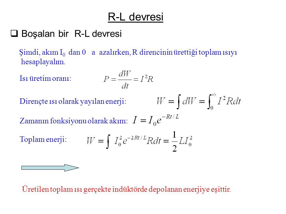 R-L devresi Boşalan bir R-L devresi