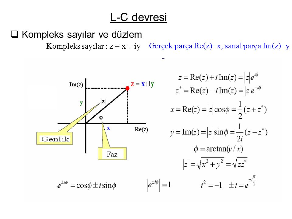 L-C devresi Kompleks sayılar ve düzlem Kompleks sayılar : z = x + iy