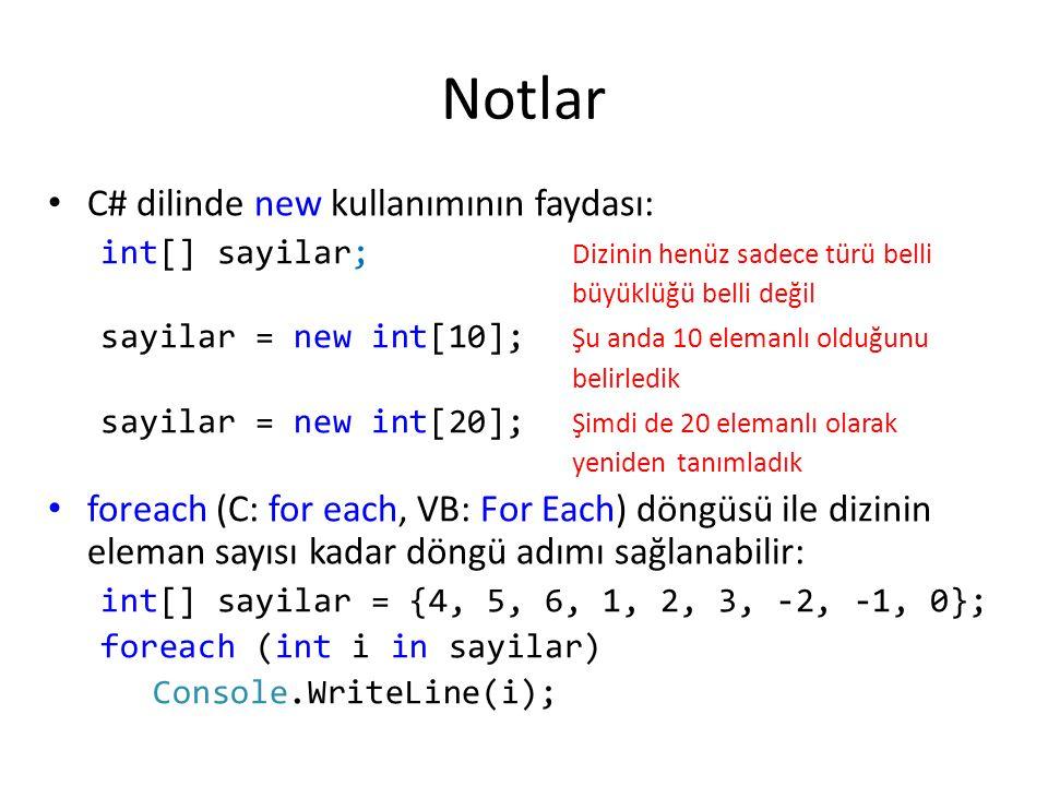 Notlar C# dilinde new kullanımının faydası: