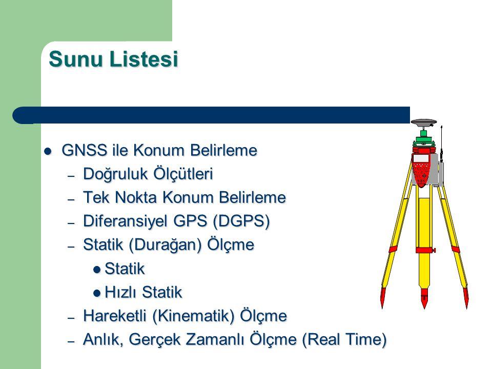 Sunu Listesi GNSS ile Konum Belirleme Doğruluk Ölçütleri