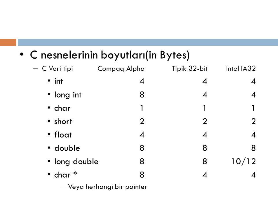 C nesnelerinin boyutları(in Bytes)