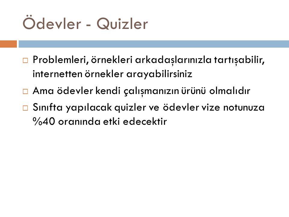 Ödevler - Quizler Problemleri, örnekleri arkadaşlarınızla tartışabilir, internetten örnekler arayabilirsiniz.