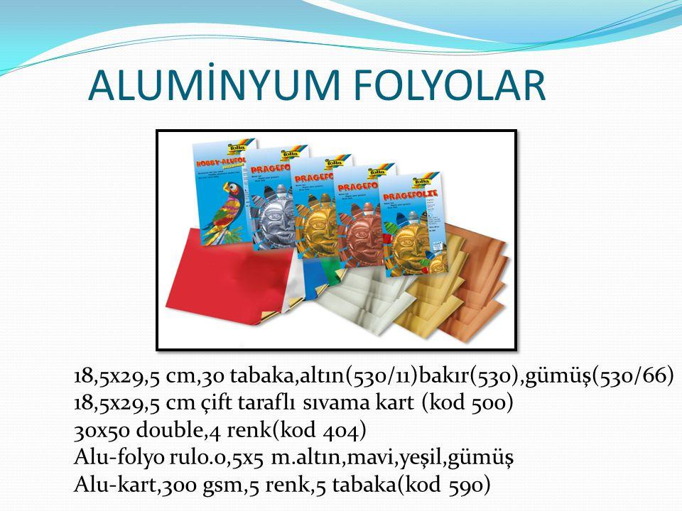 ALUMİNYUM FOLYOLAR 18,5x29,5 cm,30 tabaka,altın(530/11)bakır(530),gümüş(530/66) 18,5x29,5 cm çift taraflı sıvama kart (kod 500)