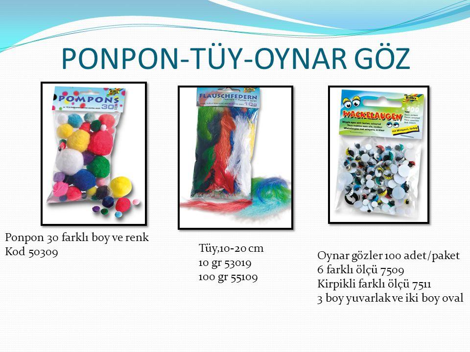 PONPON-TÜY-OYNAR GÖZ Ponpon 30 farklı boy ve renk Kod 50309