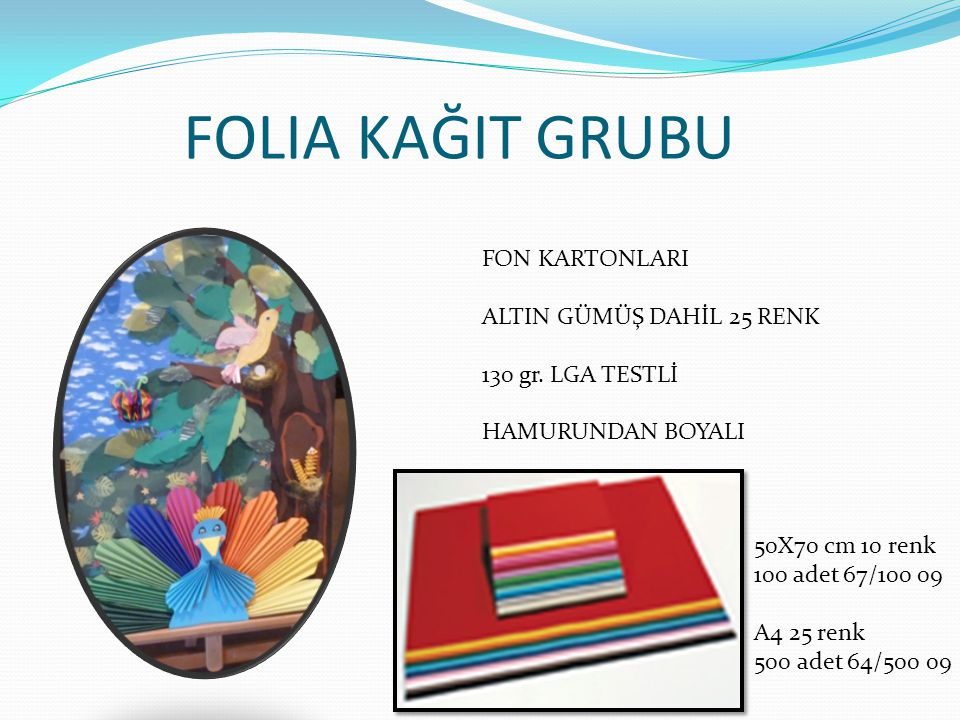 FOLIA KAĞIT GRUBU FON KARTONLARI ALTIN GÜMÜŞ DAHİL 25 RENK