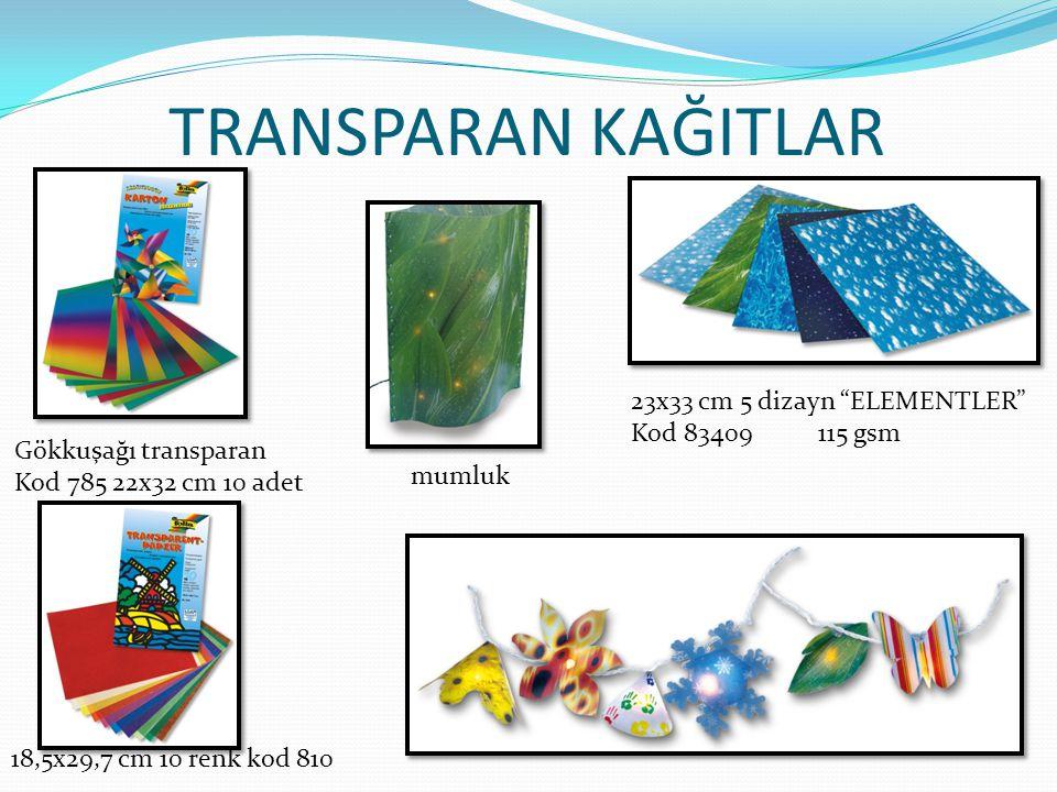TRANSPARAN KAĞITLAR 23x33 cm 5 dizayn ELEMENTLER Kod 83409 115 gsm