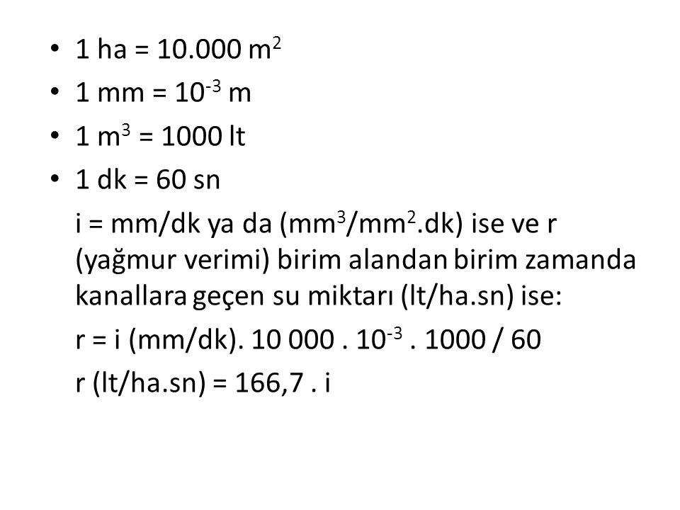 1 ha = 10.000 m2 1 mm = 10-3 m. 1 m3 = 1000 lt. 1 dk = 60 sn.