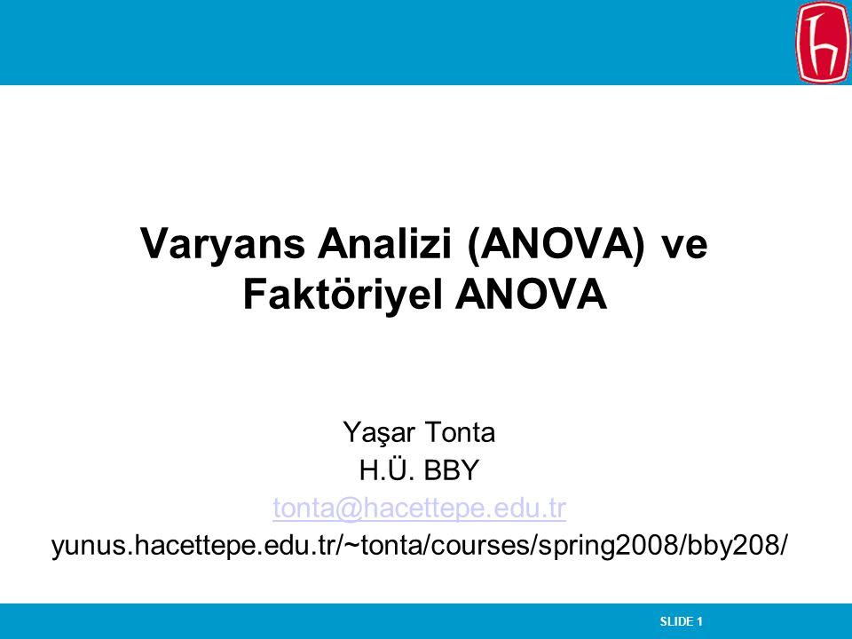 Varyans Analizi (ANOVA) ve Faktöriyel ANOVA
