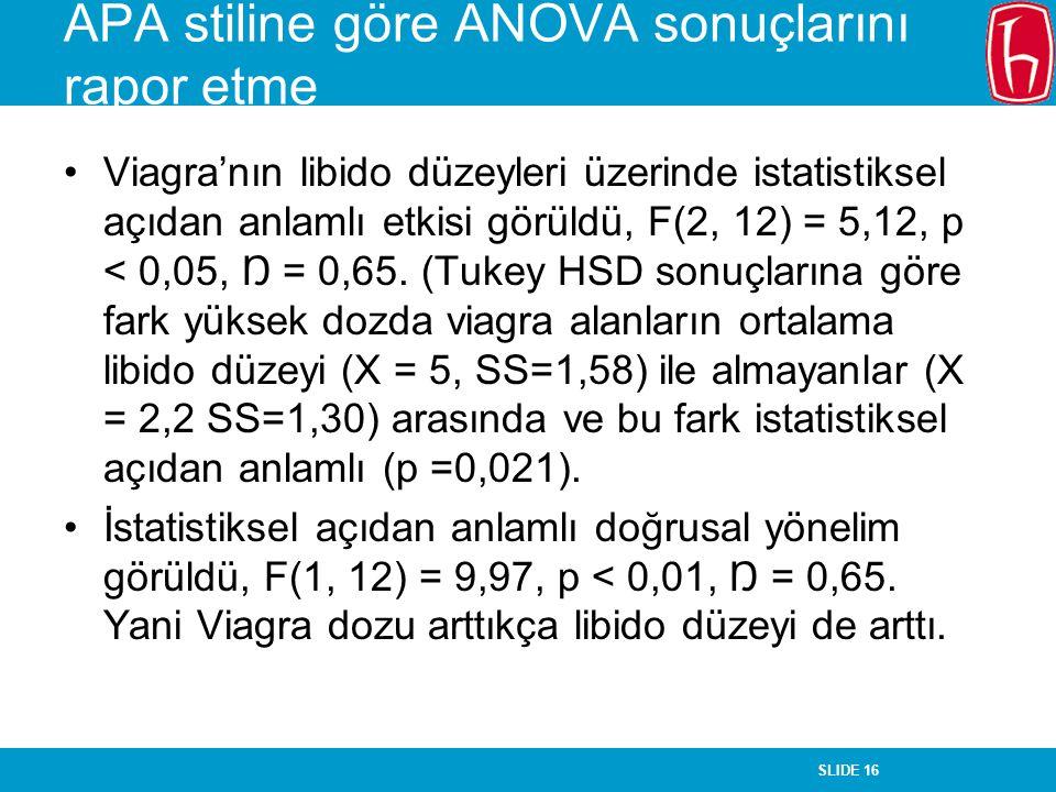 APA stiline göre ANOVA sonuçlarını rapor etme