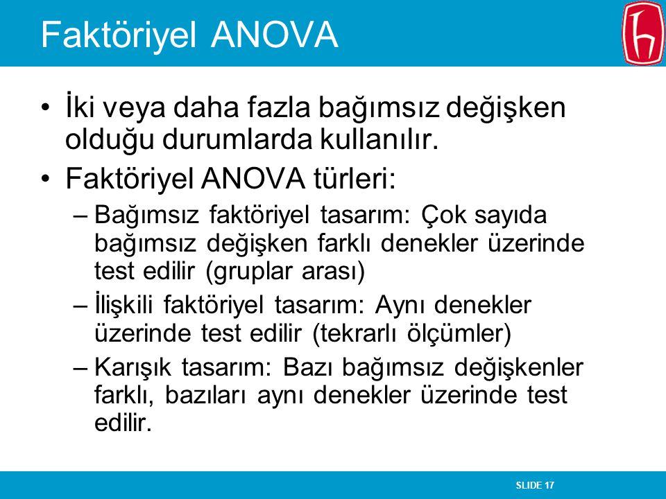 Faktöriyel ANOVA İki veya daha fazla bağımsız değişken olduğu durumlarda kullanılır. Faktöriyel ANOVA türleri: