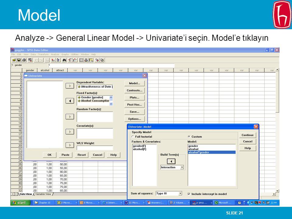 Model Analyze -> General Linear Model -> Univariate'i seçin. Model'e tıklayın