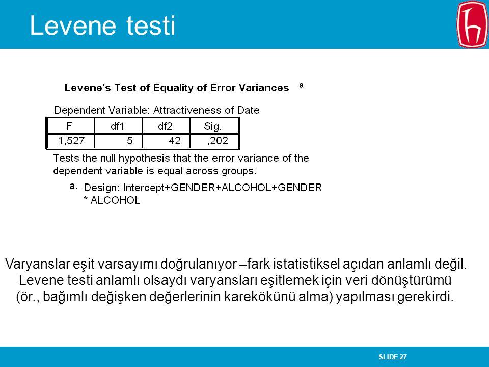 Levene testi Varyanslar eşit varsayımı doğrulanıyor –fark istatistiksel açıdan anlamlı değil.