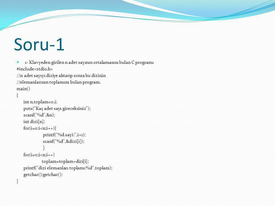 Soru-1 1- Klavyeden girilen n adet sayının ortalamasını bulan C programı. #include<stdio.h> //n adet sayıyı diziye aktarıp sonra bu dizinin.