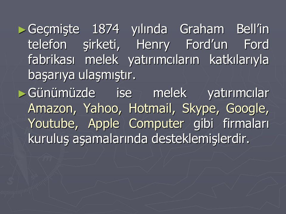 Geçmişte 1874 yılında Graham Bell'in telefon şirketi, Henry Ford'un Ford fabrikası melek yatırımcıların katkılarıyla başarıya ulaşmıştır.
