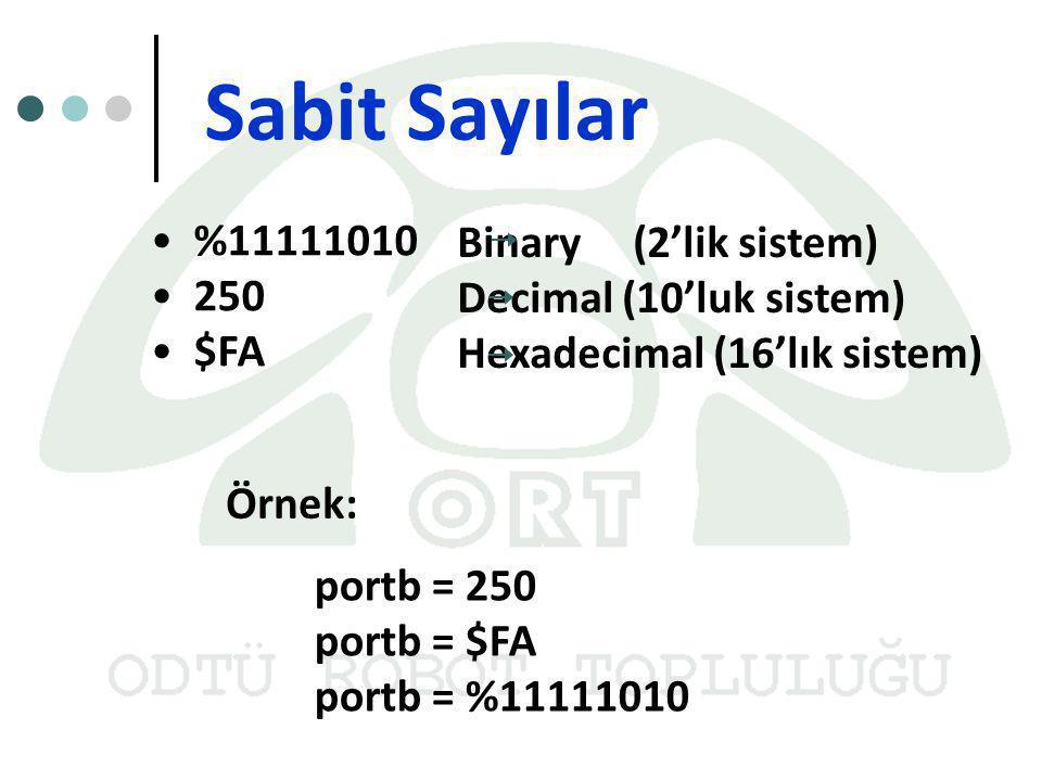 Sabit Sayılar %11111010 Binary (2'lik sistem) 250